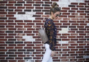 floral top and back pack