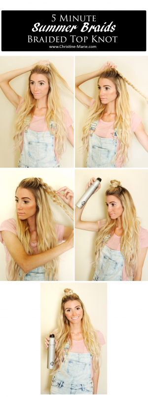 Easy 5 minute Top knot braid