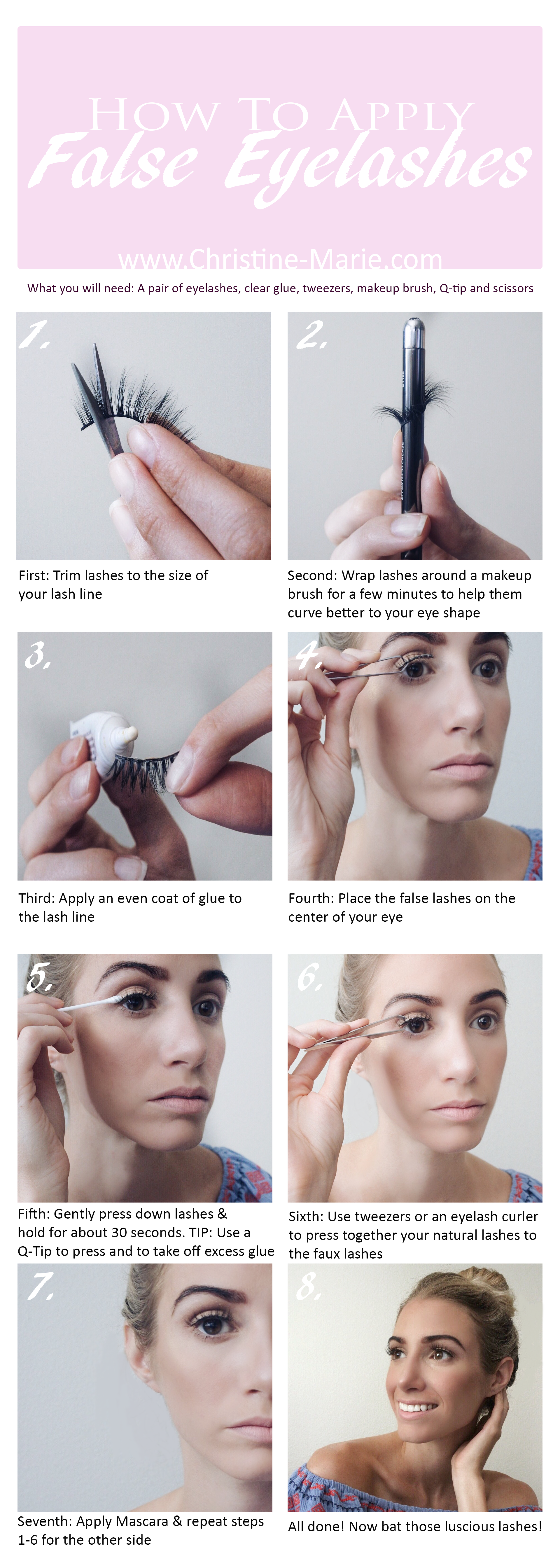 Step by Step tutorial on how to apply false eyelashes