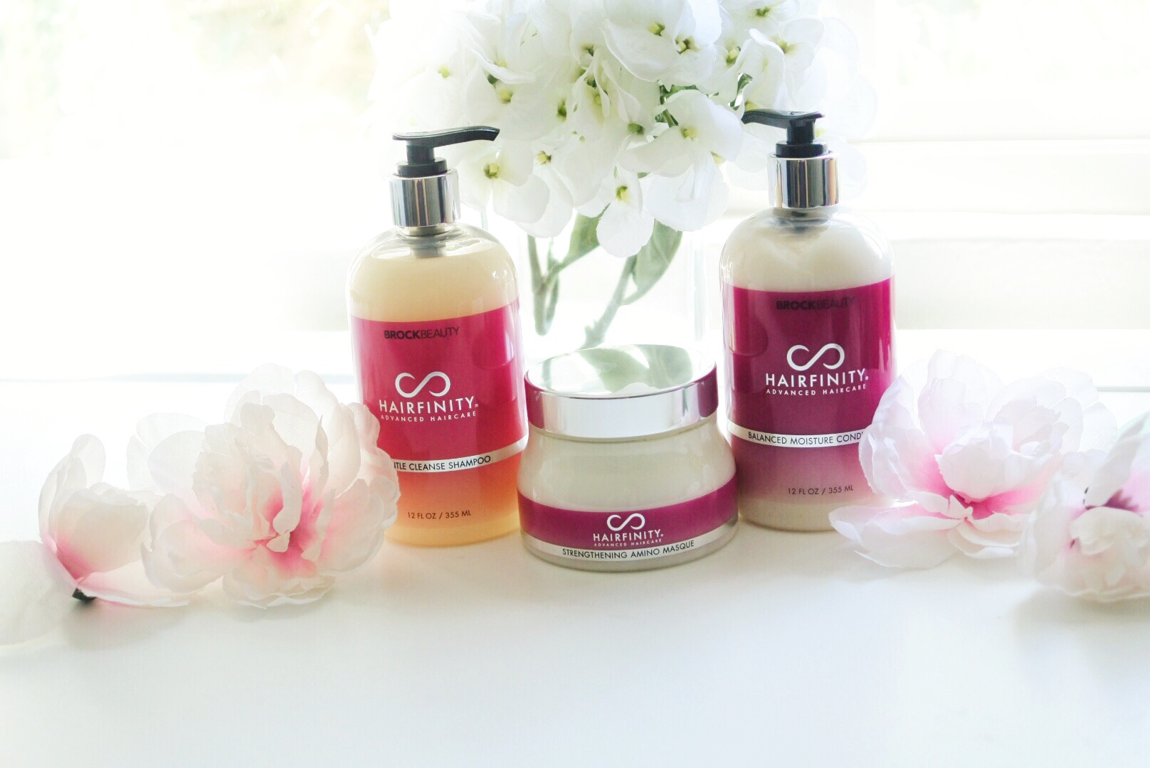 Hairfinity Balance Moisture Conditioner, Gentle Cleanse Shampoo, and Strengthening Amino Masque
