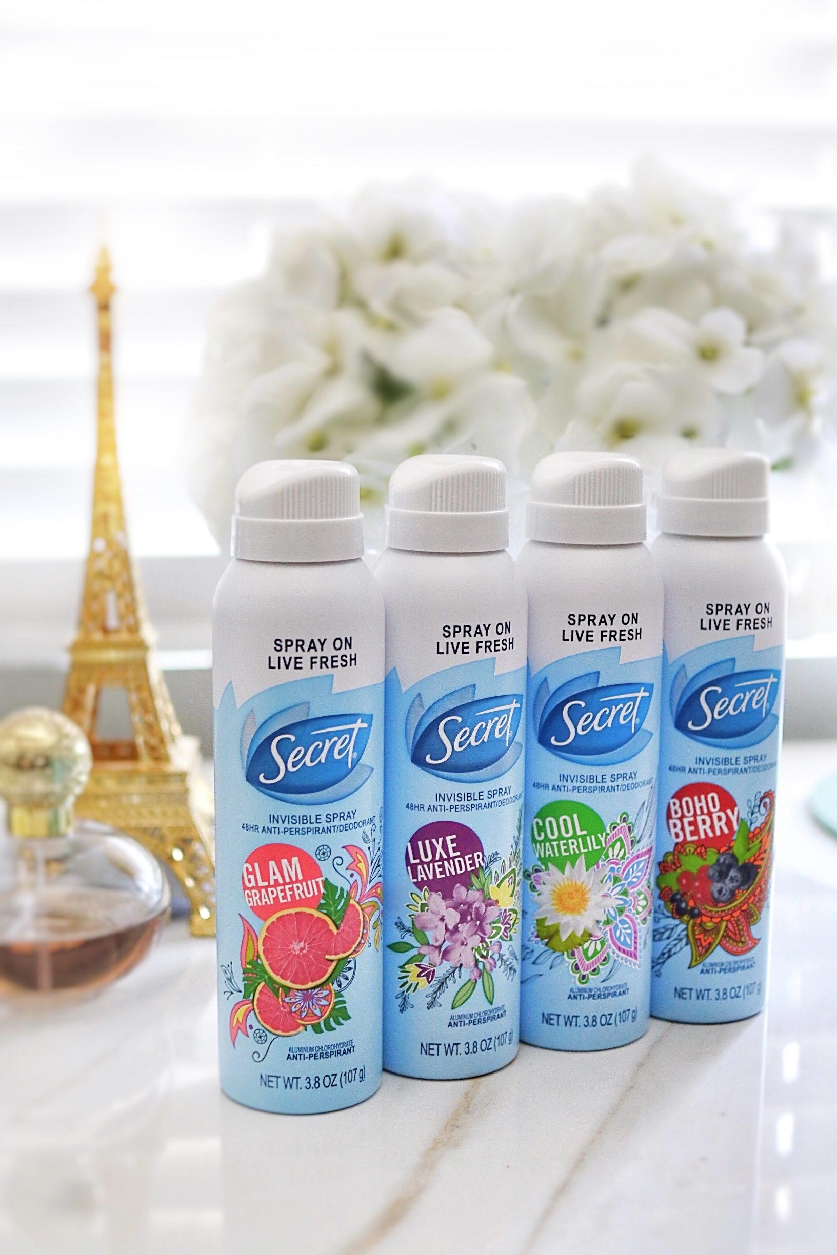 Secret Invisible Spray Deodorant in 4 NEW Scents!
