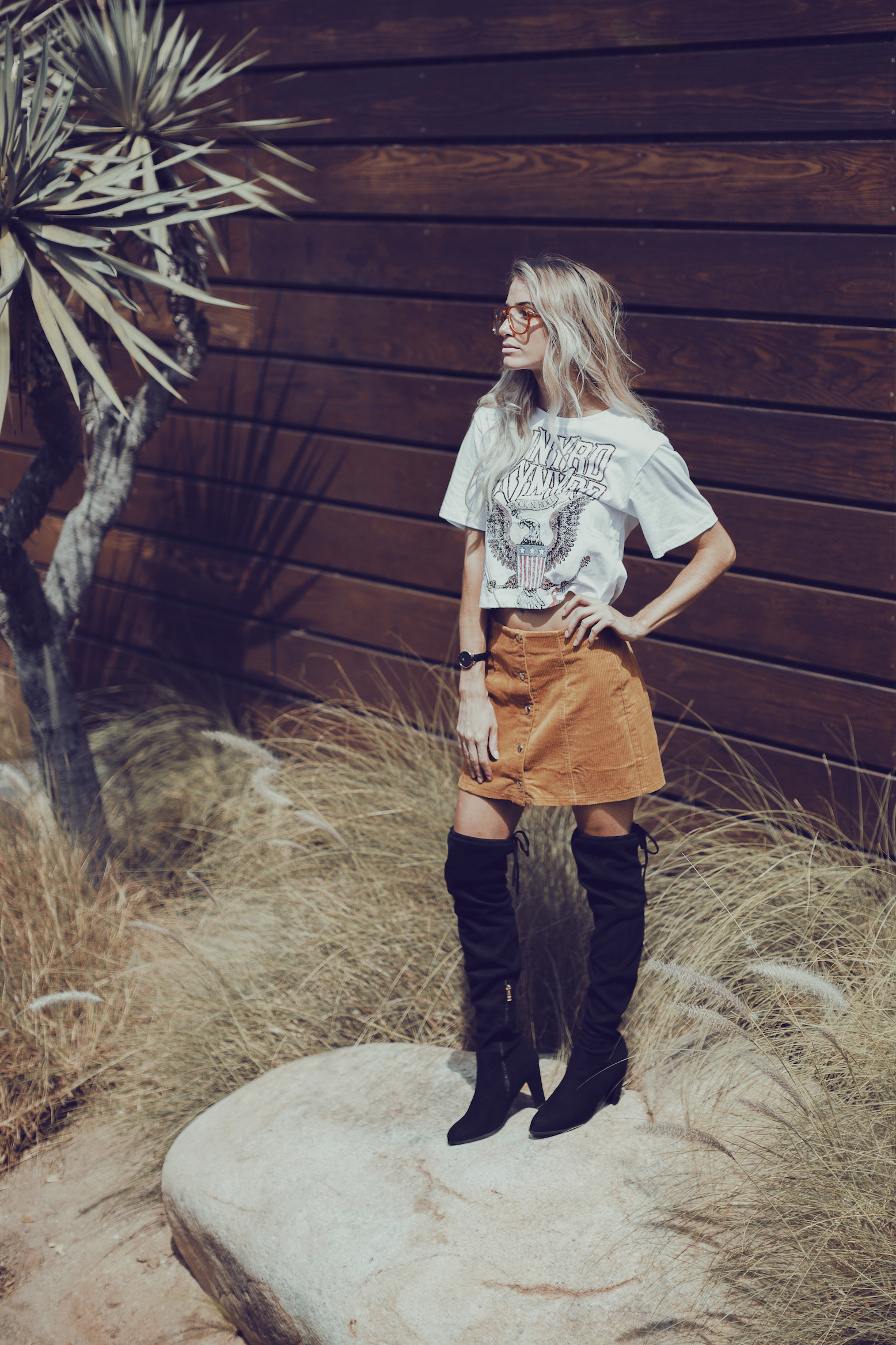 Forever 21 Corduroy Skirt and Graphic Tee with Lace Up Back + Over the Knee Boots