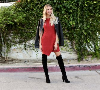 faux suede asymmetrical dress