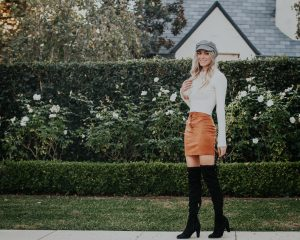 Fall Suede Lace Up Skirt   Cab hat   Bell Sleeves   Over the Knee Boots  