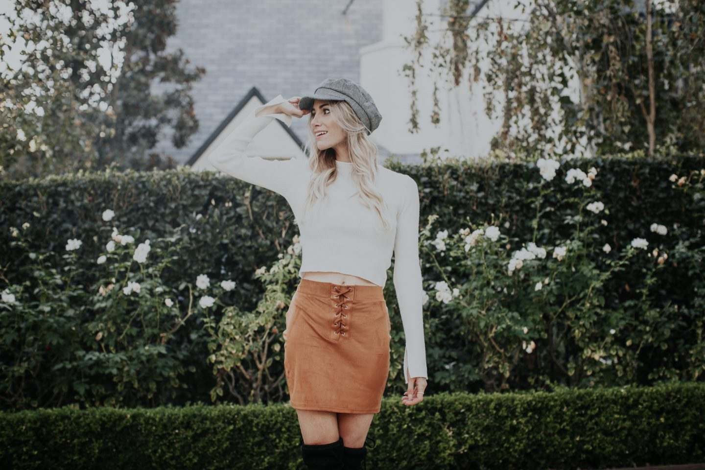 Moto Cap + Lace Up Skirt