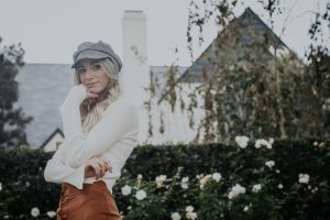 Fall Suede Lace Up Skirt | Cab hat | Bell Sleeves