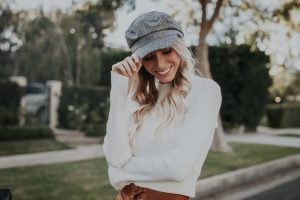 Cab Hat | White Bell Sleeve Sweater