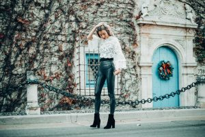 Forever 21 Lace Top   Leather Leggings   Christine Marie Blog
