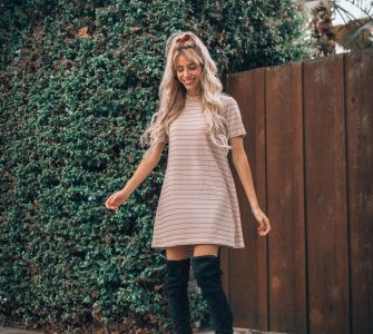BCBGeneration Mock Neck Dress | Fall Dresses | Fall Outfits | Knee High Boots