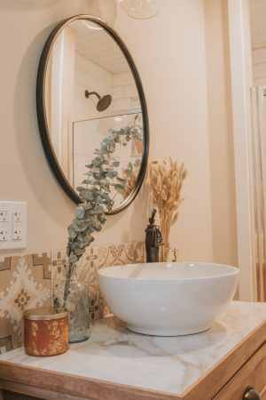 Before and After Mid Century Bathroom Renovation   Vanity Sink