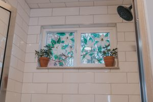 Before and After Mid Century Bathroom Renovation   Hand painted window