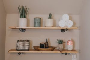 Before and After Mid Century Bathroom Renovation | Piping Floating Shelves