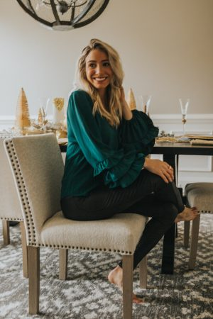 Green sleeve detail blouse | Holiday Looks | Holiday Style
