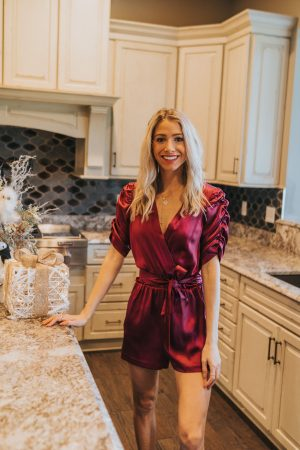 Plum Romper with bow  Holiday Looks   Holiday Style