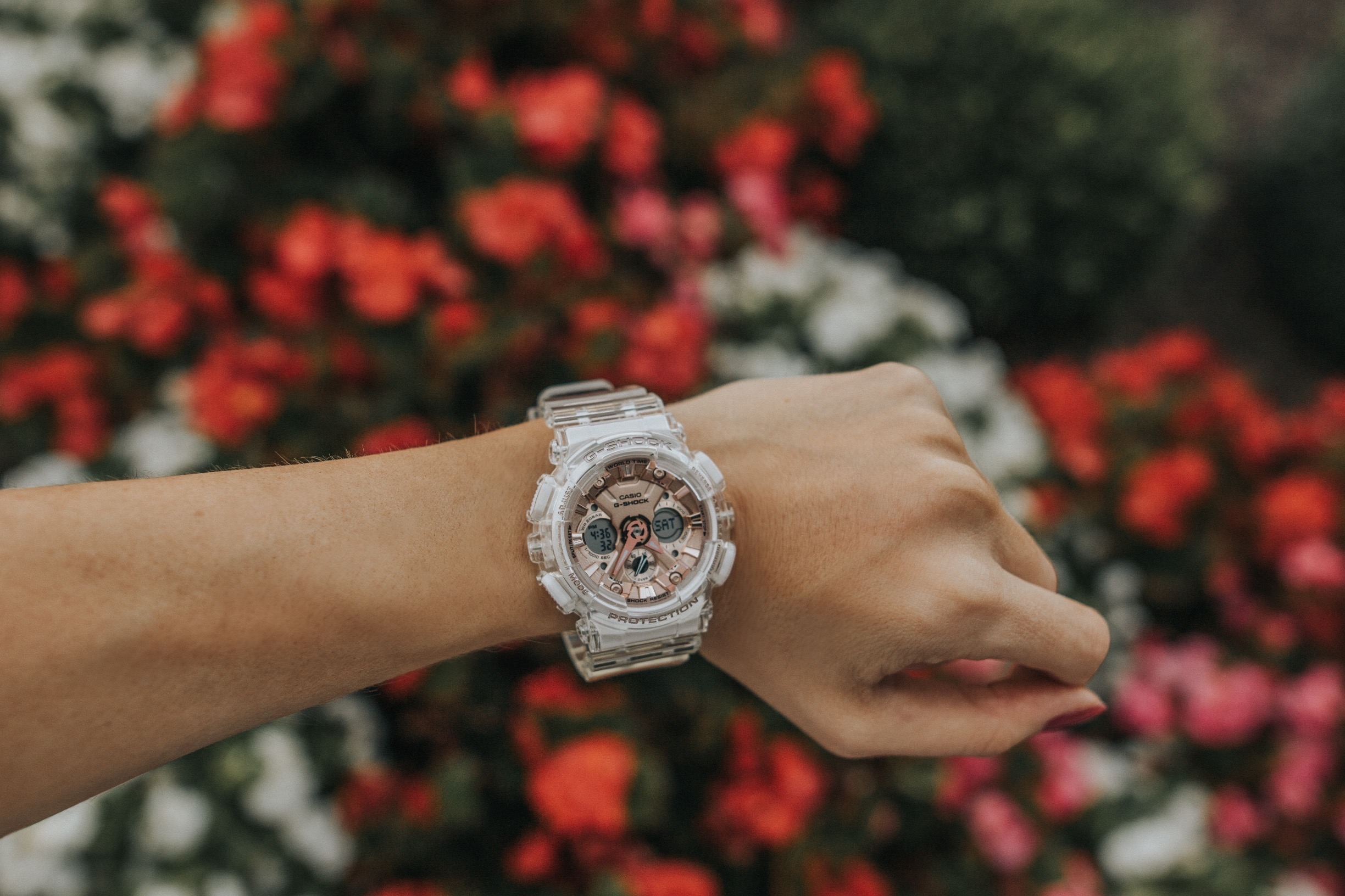 G-Shock Women's Watch Rose Gold Transparent| Water resistant Watch